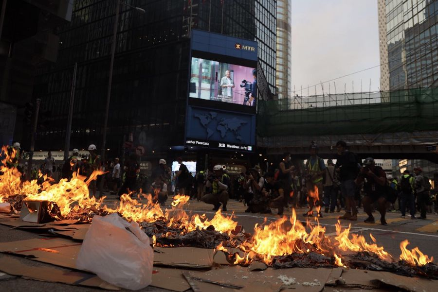 HK police warn protesters to stop illegal acts as violence continues for 3rd month  - Xinhua | English.news.cn